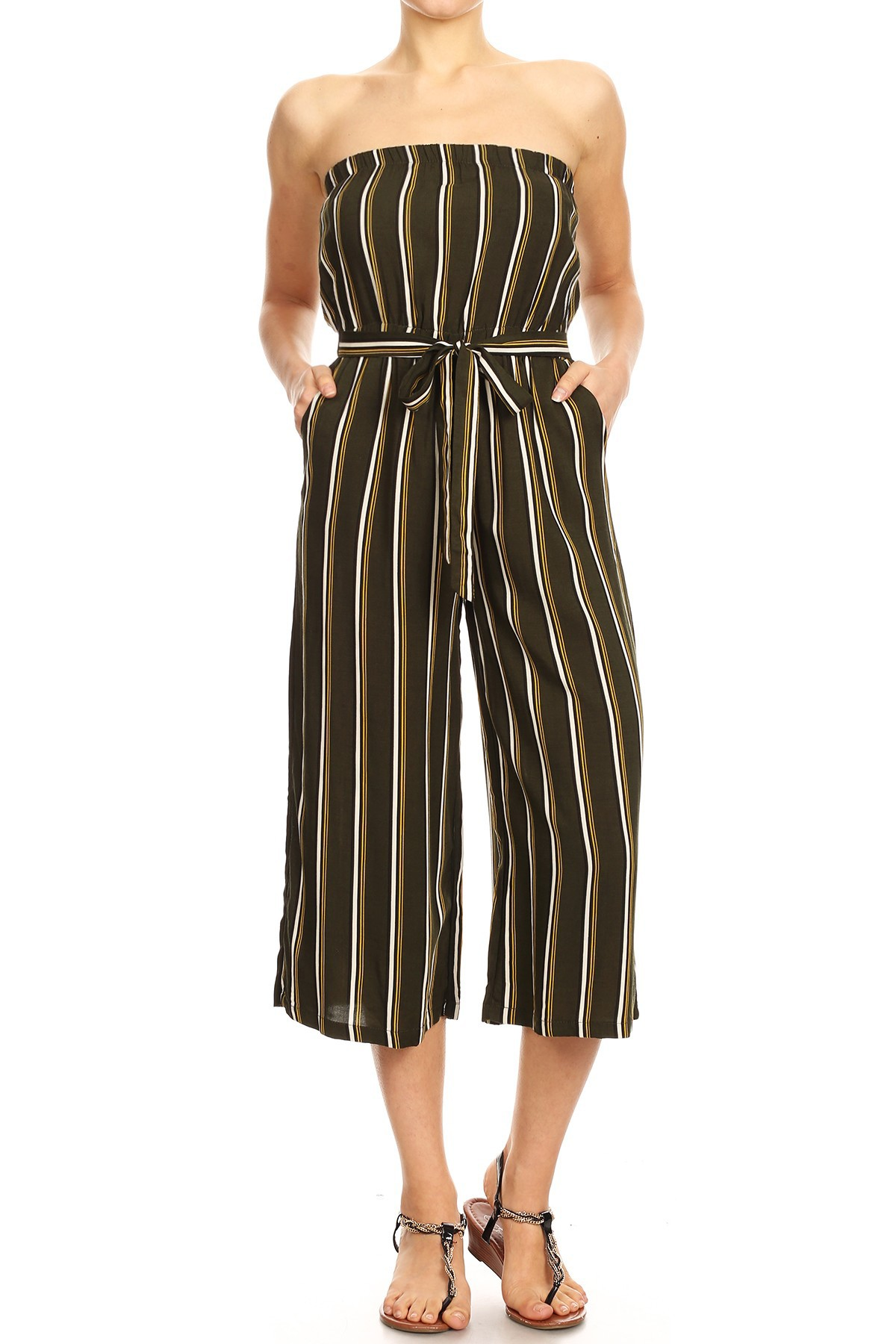 OLIVE/MUSTARD/CREAM STRIPE PRINT RAYON TUBE TOP CROPPED JUMPSUIT#9JPS04-03