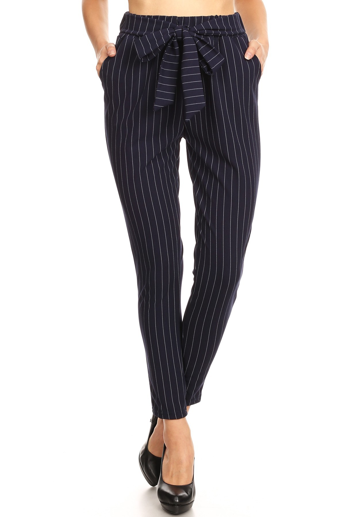 NAVY/WHITE SEMI HAREM TWILL KNIT PANTS W/ FRONT SELF TIE#9PNT13-SP28A
