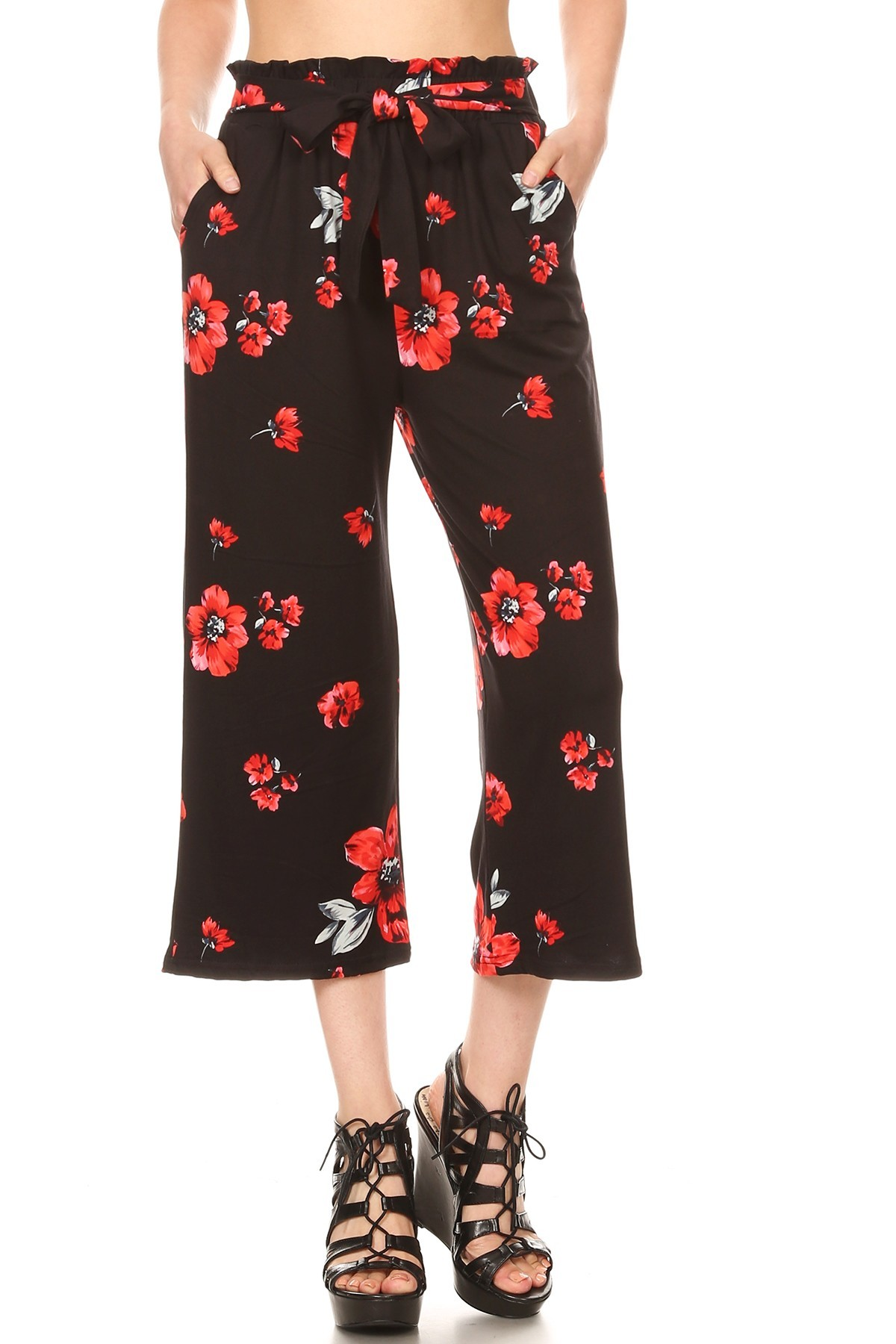 BRUSH POLY  CROPPED PAPERBAG STRAIGHT LEG PANTS#9SLP02-FL01