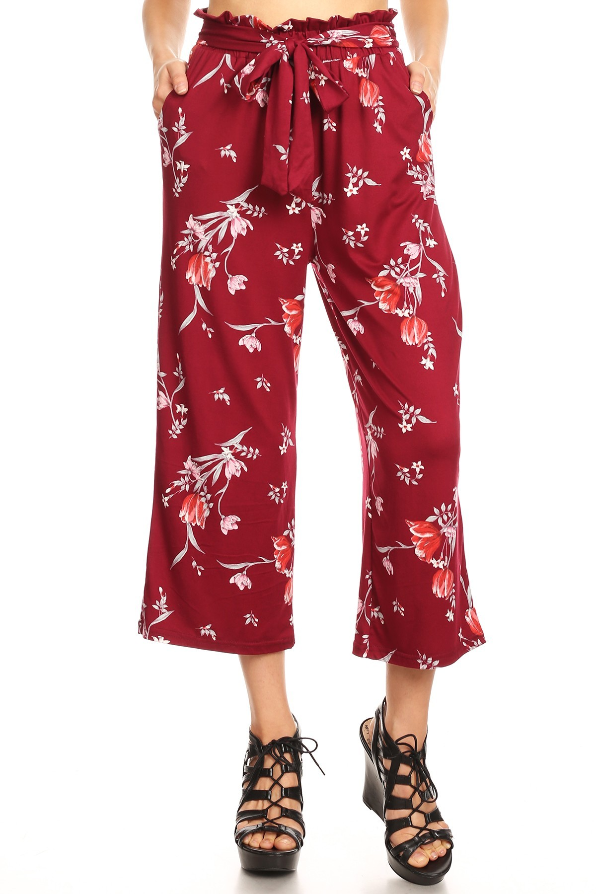 BURGUNDY/RED FLORAL PRINT CROPPED PAPER BAG WIDE LEG PANTS#9SLP02-FL04