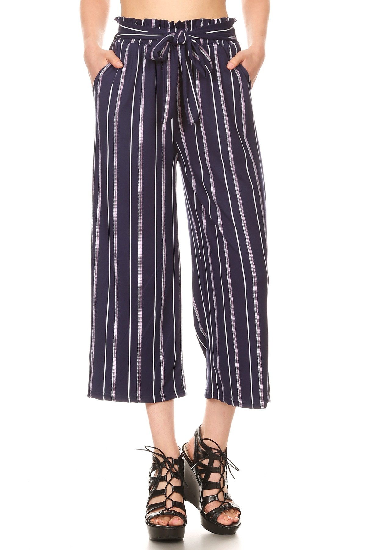 BRUSH POLY CROPPED PAPERBAG STRAIGHT LEG PANTS#9SLP02-SP02A