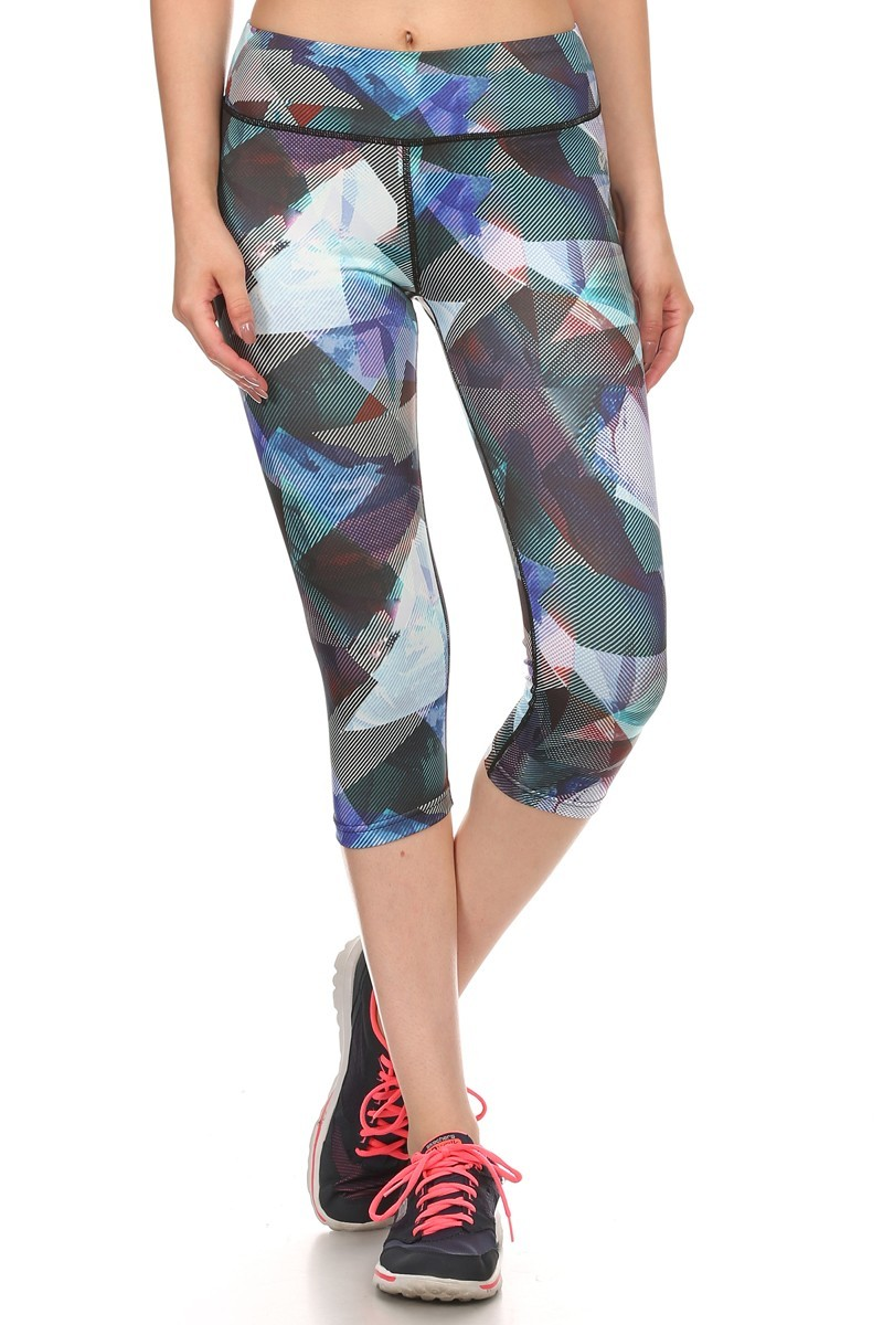 MULTI-COLOR ABSTRACT GEO PRINT ACTIVE CAPRIS #A6CP12-01