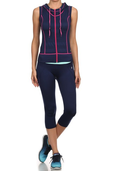 NAVY/MAGENTA ACTIVEWEAR SLEEVELESS ZIP-UP HOODIE #AHD15N102