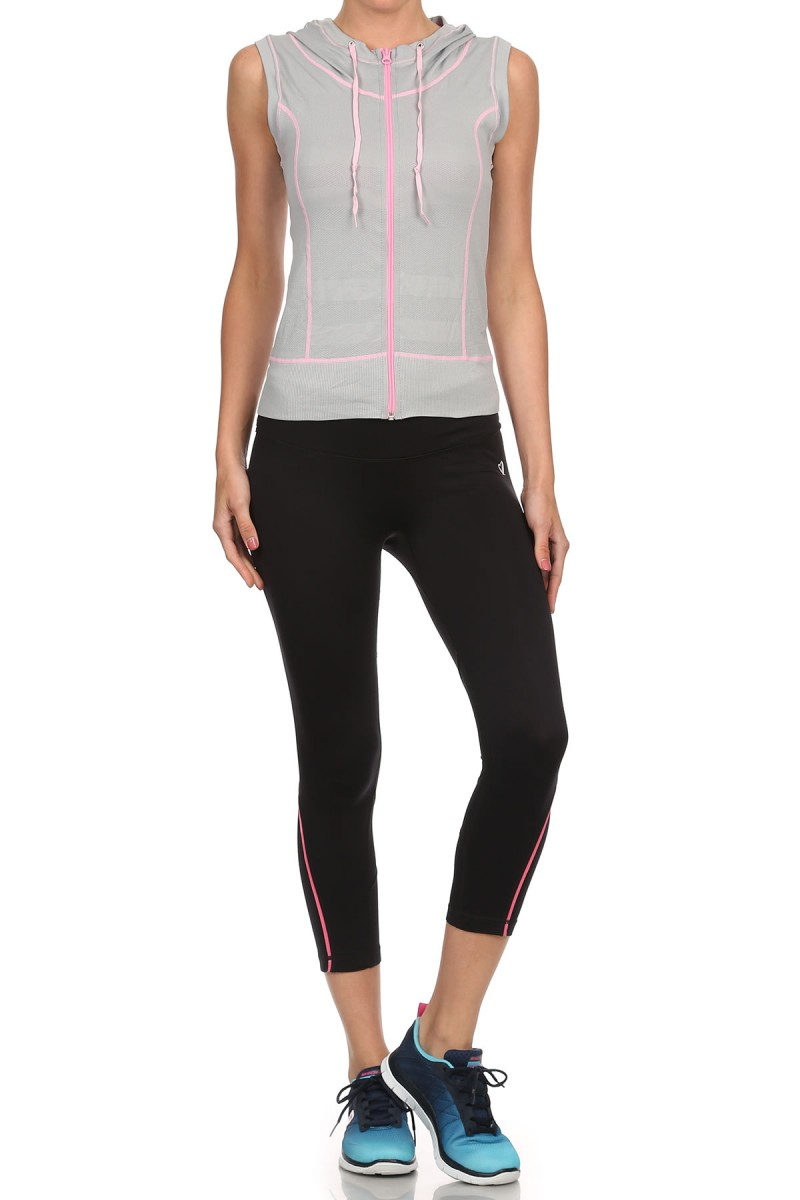 LIGHT GREY/PINK ACTIVEWEAR SLEEVELESS ZIP-UP HOODIE #AHD15N103