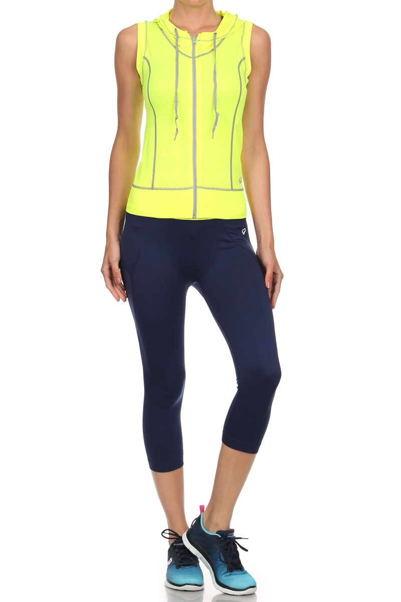 NEON YELLOW/LIGHT GREY ACTIVEWEAR SLEEVELESS ZIP-UP HOODIE #AHD15N105
