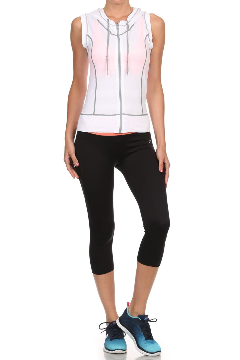 WHITE/LIGHT GREY ACTIVEWEAR SLEEVELESS ZIP-UP HOODIE #AHD15N106