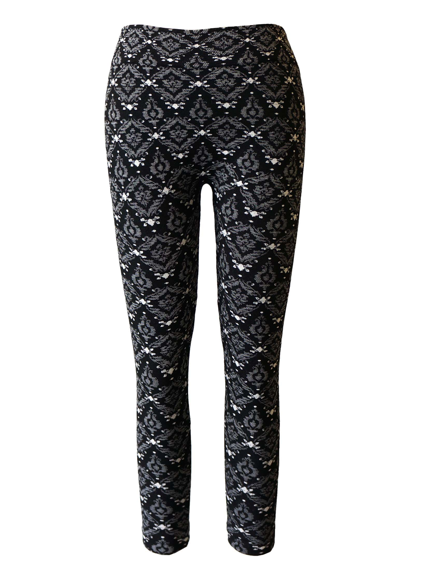 KIDS BLACK/WHITE WALLPAPER JACQUARD SEAMLESS FLEECE LEGGING(SIZE:4/6X) #KSJ15FL11