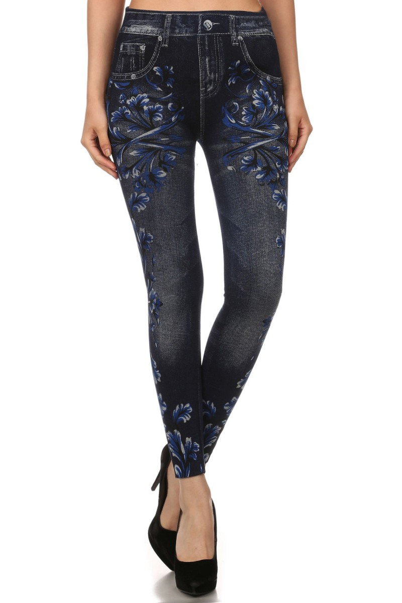 BLUE FLORAL PRINT SUBLIMATION FRENCH TERRY SEAMLESS LEGGINGS #SBM15FT05
