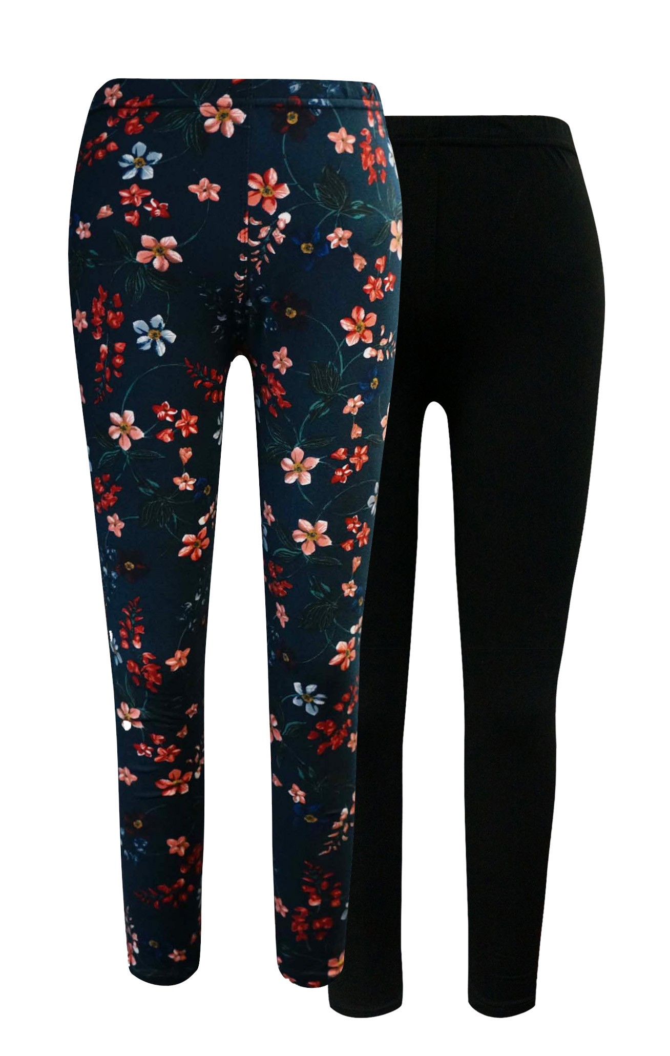 KIDS BLACK, BLACK/MULTI FLORAL PRINT BRUSH POLY LEGGING (2 PACK)(7/8, 10/12)#X2K8L54-06