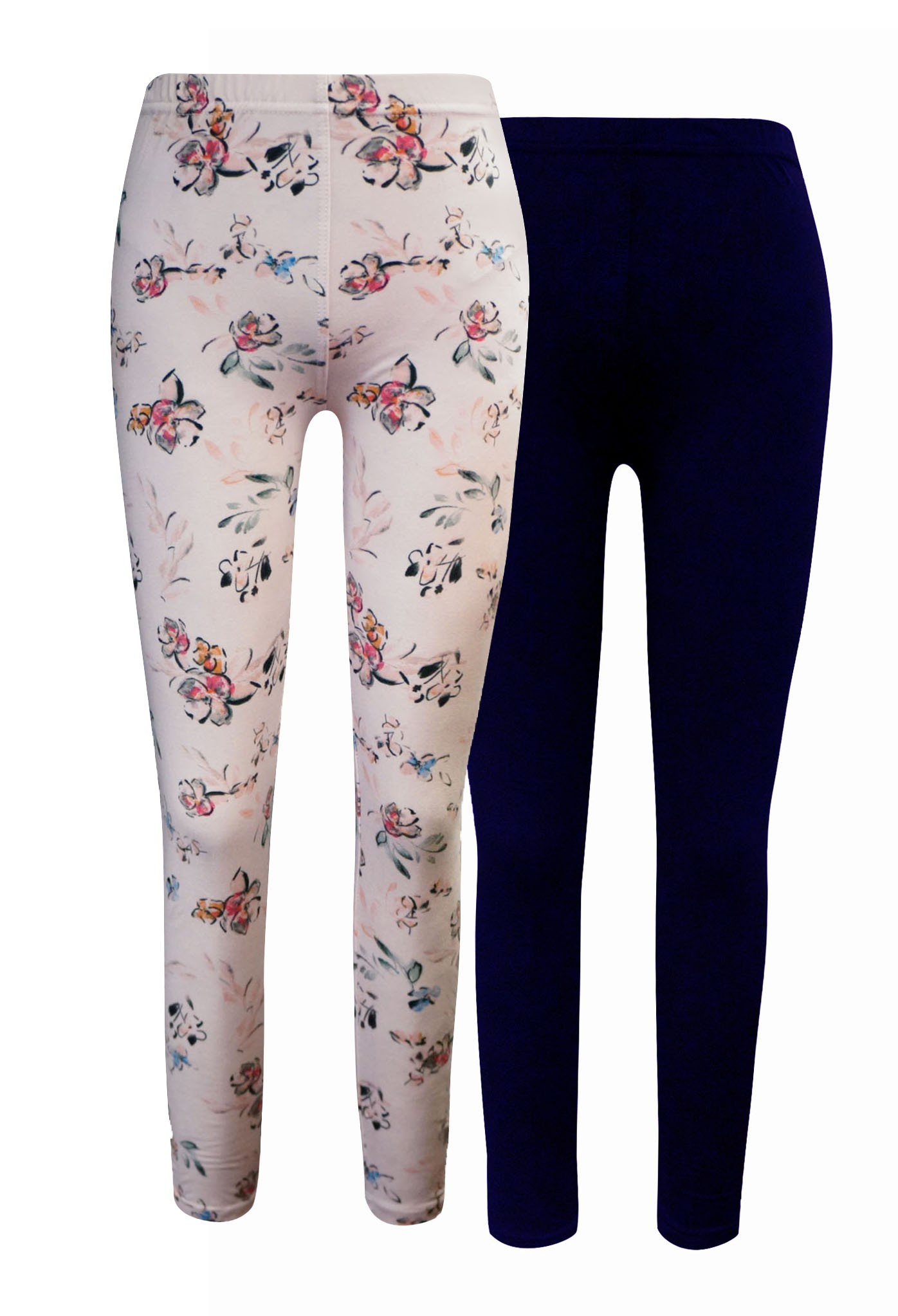KIDS NAVY, PINK FLORAL PRINT BRUSH POLY LEGGING (2 PACK)(7/8, 10/12)#X2K8L54-08