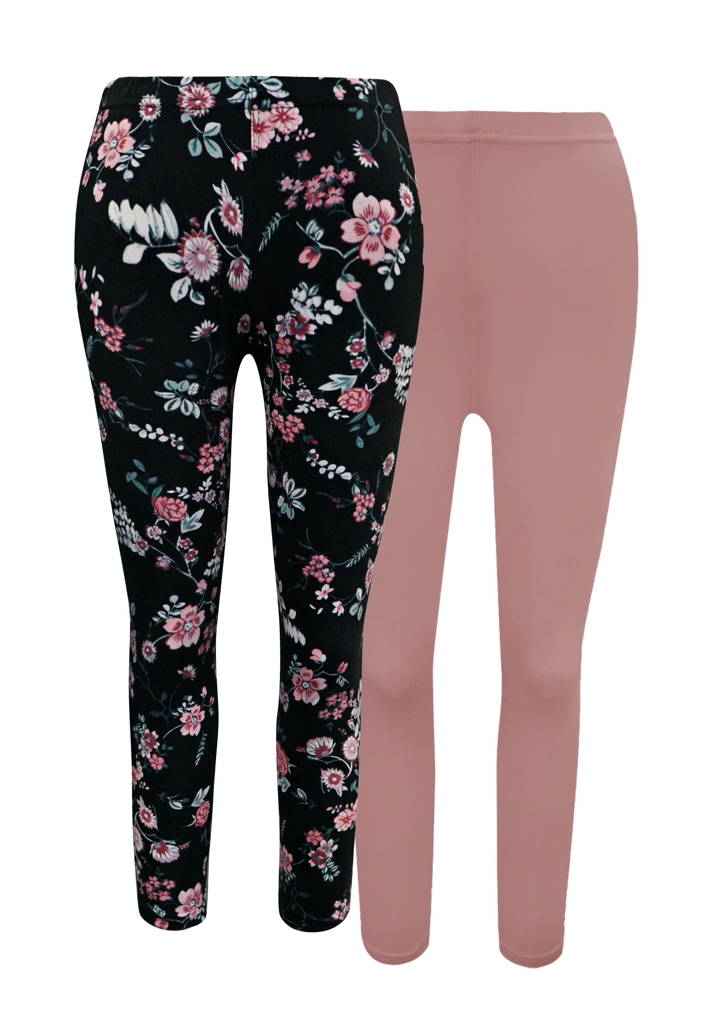KIDS 2PACK SOLID MAUVE & BLACK/PINK FLORAL PRINT BASIC LEGGING(7/8,10/12) #X2K8L54-22