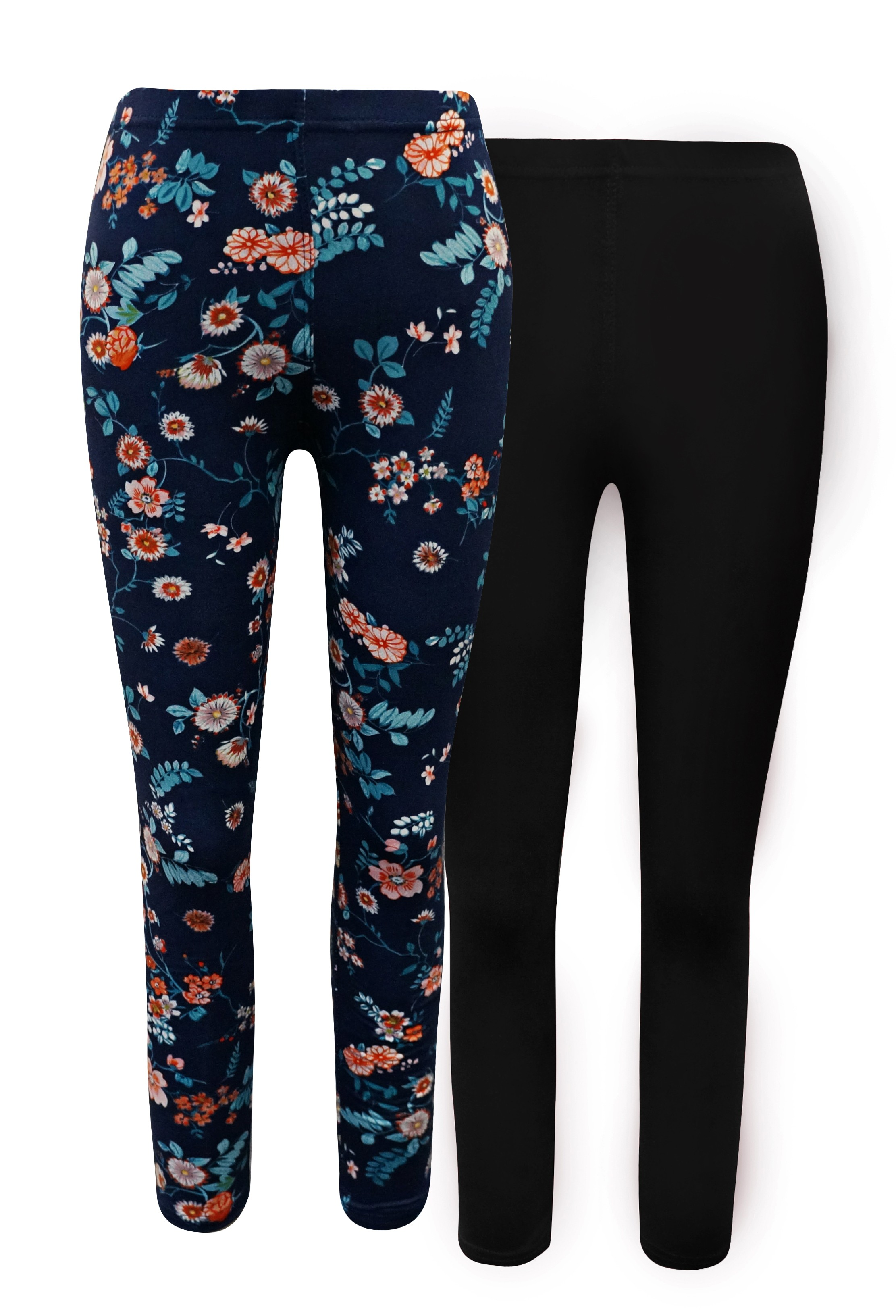 KIDS 2 PACK SOLID BLACK & NAVY/MINT FLORAL PRINT BASIC LEGGING(7/8, 10/12)#X2K8L54-25