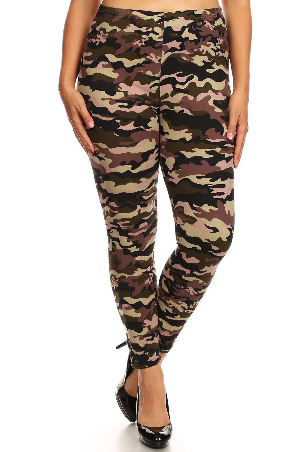 PLUS GREEN/BLACK/BROWN CAMO PRINT BASIC BRUSH POLY FLEECE LINED LEGGING#X8L105-03