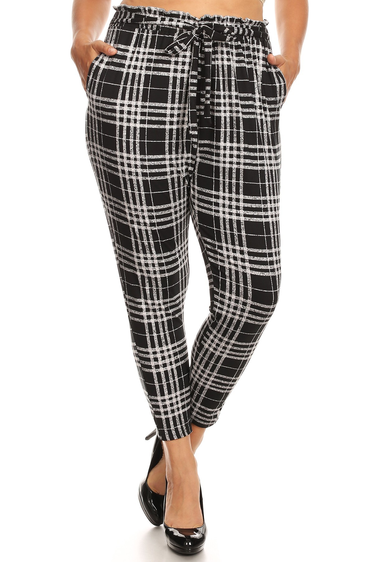 PLUS BLACK/GREY PLAID PRINT PAPER BAG WAIST PANTS#X8PNT03-01