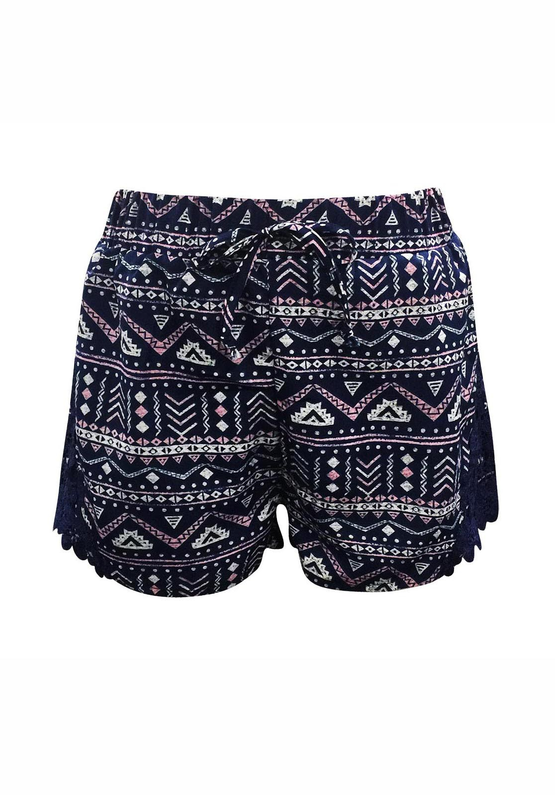 KIDS NAVY/PINK/WHT TRIBAL PRINT SHORTS W/ NVY LACE APPLIQUE(7/8,10/12)#XK7SH16-08