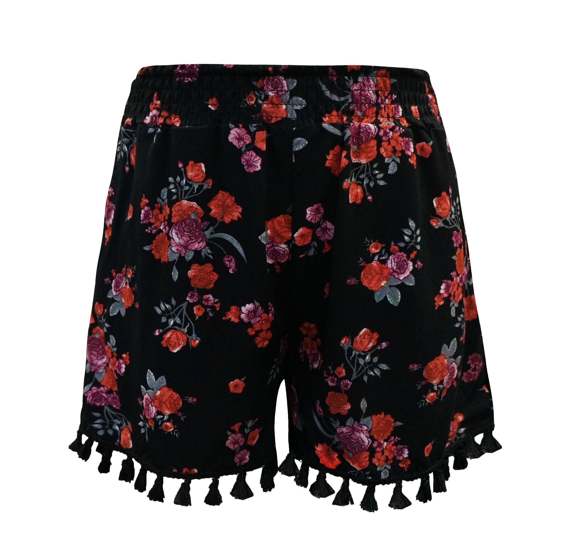 KIDS BLACK/GREY/COR FLORAL PRINT SMOCKING WAIST SHORTS W/ TASSEL TRIM(7/8,10/12)#XK8SH15-01