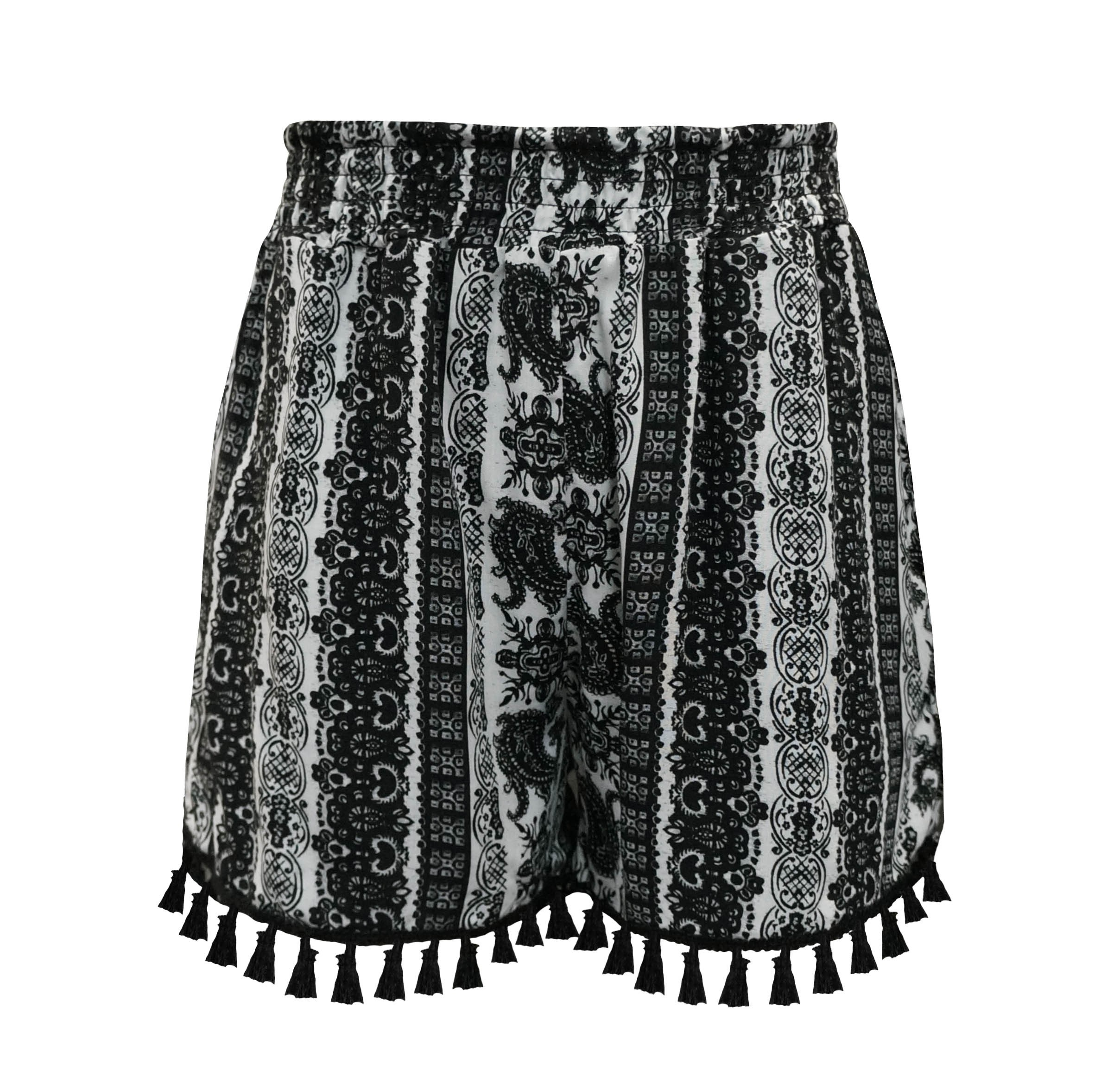 KIDS BLACK/WHITE PAISLEY PRINT SMOCKING WAIST SHORTS W/ TASSEL TRIM(7/8,10/12)#XK8SH15-05
