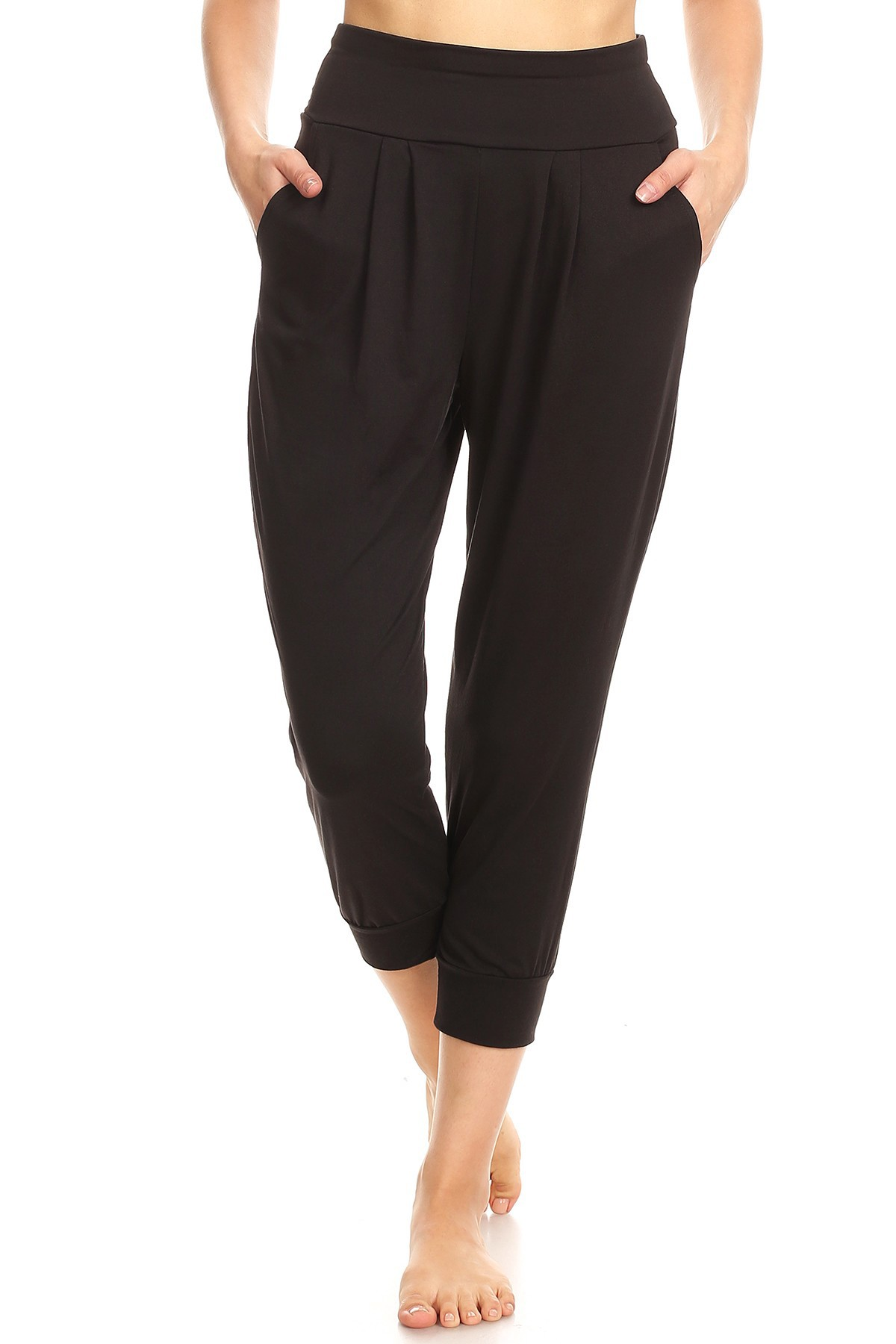 BRUSH POLY HAREM CROPPED LOOSE FIT JOGGER#8TRK04