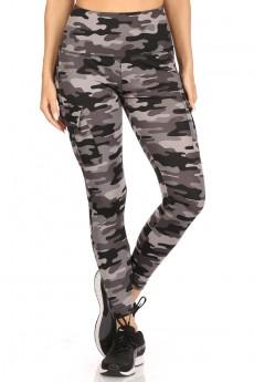 BLACK/GREY CAMO PRINT HIGH WAIST TUMMY CONTROL LEGGING W/ SIDE#20L07-2504