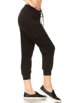 BLACK DOUBLE-FACE STRETCH KNITS CARGO CROPPED JOGGER#20TRK02