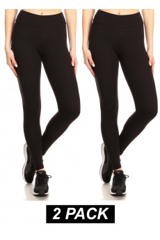 CROPPED LENGTH 2PACK BRUSHED POLY LEGGING#2P9L02