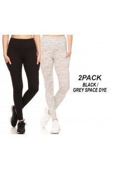 2PACK BLACK & GREY SPACE DYE TUMMY CONTROL LEGGING WITH SIDE#2P9L27-SD07