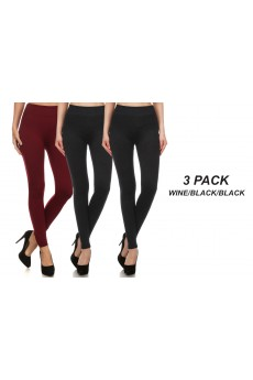 3PACK BLACK/BLACK/WINE BASIC FLEECE-LINED SEAMLESS LEGGING#3SS9000