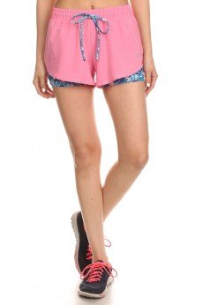 ACTIVE RUNNING SHORTS W/ TIE DYE FLORAL PRINT LINING #6ASH05-02