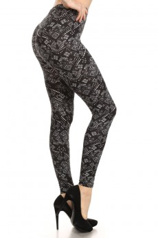 BLACK/BLACK TRIBAL PRINT BRUSH POLY LEGGING #6L09-38
