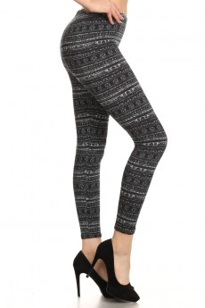 BLACK/GREY FAIRISLE PRINT BRUSH POLY FLEECE LINE LEGGING #6L23-05