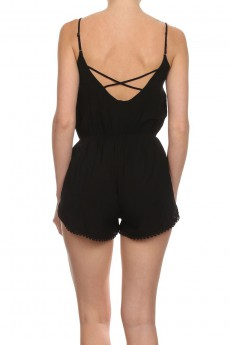 SOLID POMPOM SHORTS ROMPER #6RMP06