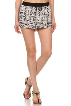 BLK/WHT ABSTRACT GEO PRINT CRINKLE SHORTS W/ SOLID WAISTBAND #6SH07-04
