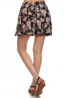 BLACK/PINK/GREEN FLORAL PRINTED WOVEN SHORT SKIRT #6SK01-03