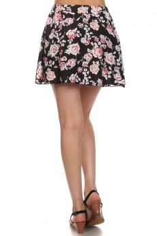 BLACK/WHITE/PINK FLORAL PRINTED WOVEN SHORT SKIRT #6SK01-04
