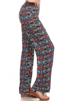 NAVY/WHITE/BLUE BOHEMIAN BORDER PRINT STRAIGHT LEG PANTS#6SLP01-04
