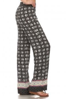 BLK/WHT/CRM/RED ELEPHANT BORDER PRINT STRAIGHT LEG PANT #6SLP01-06