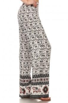 CRM/BLK/BURG BOHEMIAN ELEPHANT BORDER PRINT STRAIGHT LEG PANT #6SLP01-08
