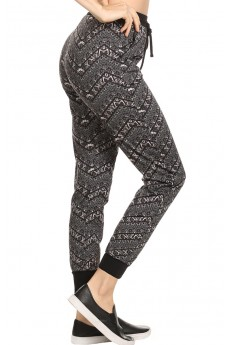 BLACK/GREY/WHITE CHEVRON TRIBAL PRINT FLEECE LINED JOGGER #6TRK10-10