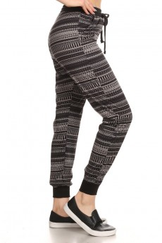 BLACK/GREY ABSTRACT GEO PRINT FLEECE LINED JOGGER #6TRK10-14