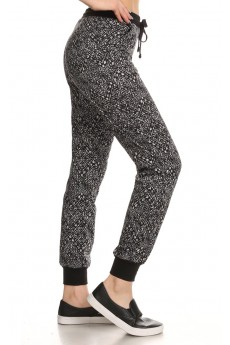 BLACK/WHITE AZTEC TRIBAL PRINT FLEECE LINED JOGGER #6TRK10-17