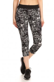 BLACK/WHITE TROPICAL PRINT BRUSH POLY CAPRIS W/ MESH SIDE PANELS #7CP11-01