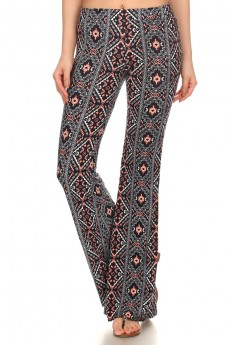 BLACK/WHITE/CORAL TRIBAL PRINTED FLARE PANTS #7FP01-10
