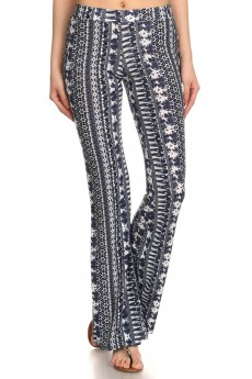 NAVY/WHITE ABSTRACT TIE DYE PRINTED FLARE PANTS #7FP01-12