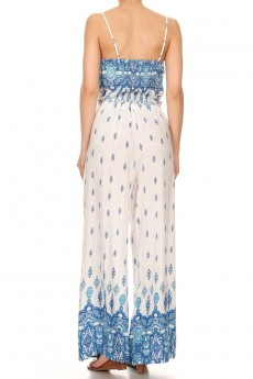 WHITE/BLUE BOHO BORDER PRINT WIDE LEG JUMPSUIT W/ SMOCKING#7JPS04-01