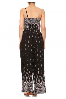 BLACK/WHITE/PINK BOHO BORDER PRINT WIDE LEG JUMPSUIT W/ SMOCKING#7JPS04-03