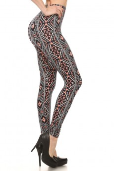 BLACK/WHITE/CORAL TRIBAL PRINT BRUSH POLY LEGGING #7L01-15