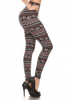BLACK/WHITE/BURGUNDY ELEPHANT PRINT BRUSH POLY LEGGING #7L01-20