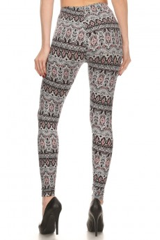 BLACK/WHITE/CORAL TRIBAL PRINT BRUSH POLY LEGGING #7L01-22
