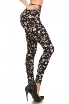 BLACK/WHITE/PINK FLORAL PRINT BRUSH POLY LEGGING #7L01-27