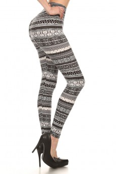 BLACK/WHITE PAISLEY PRINT BRUSH POLY LEGGING #7L01-30